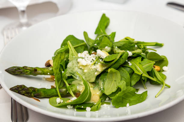 Spinach Salad with Asparagus stock photo
