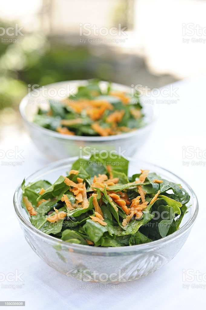 Spinach Salad with Orange Ginger Dressing royalty-free stock photo