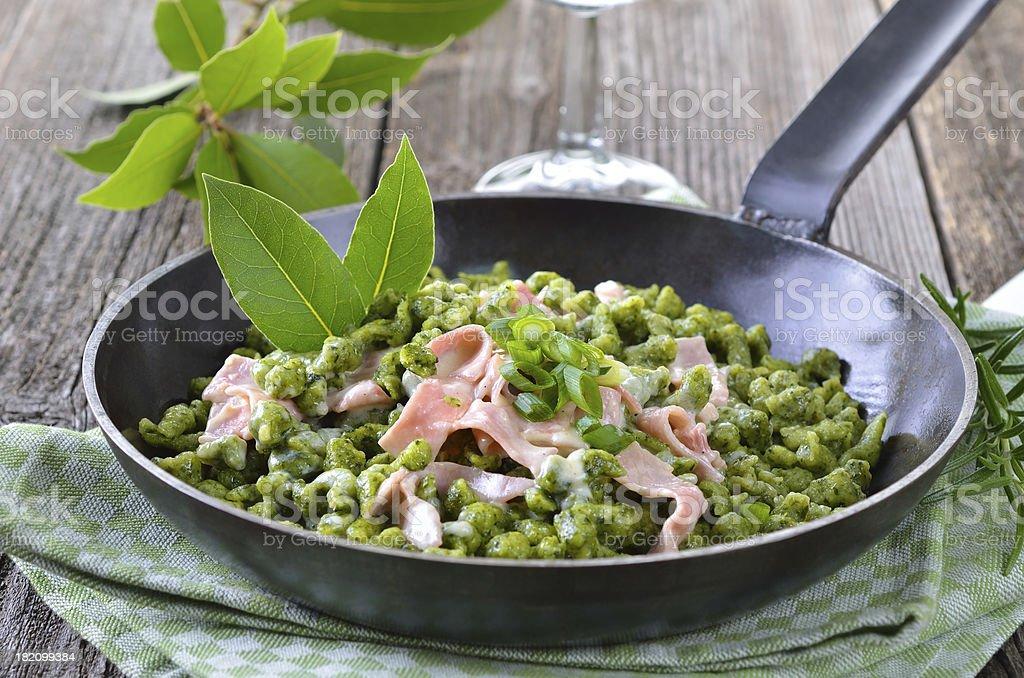 Spinach spaetzle stock photo