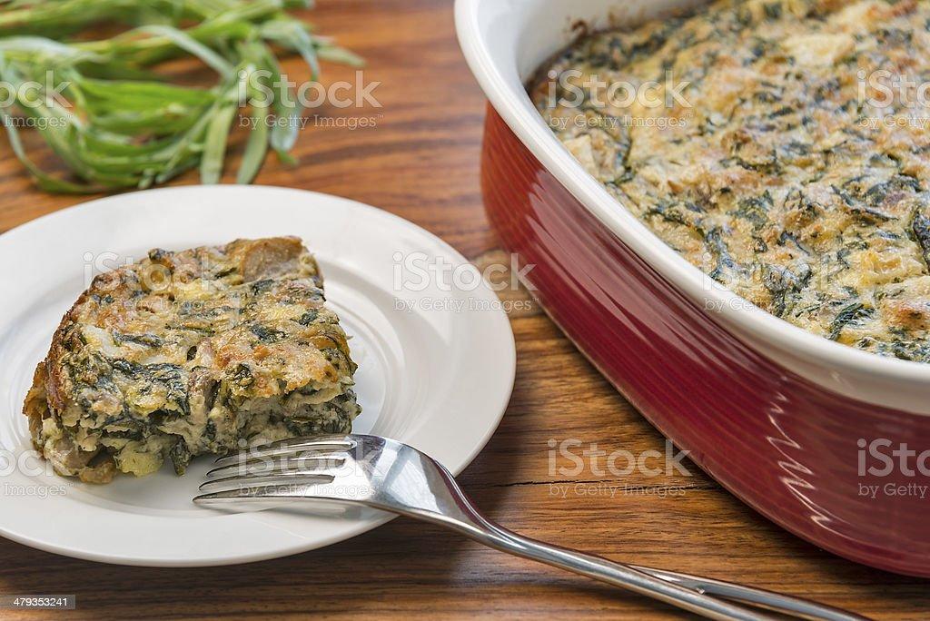 Spinach square casserole stock photo