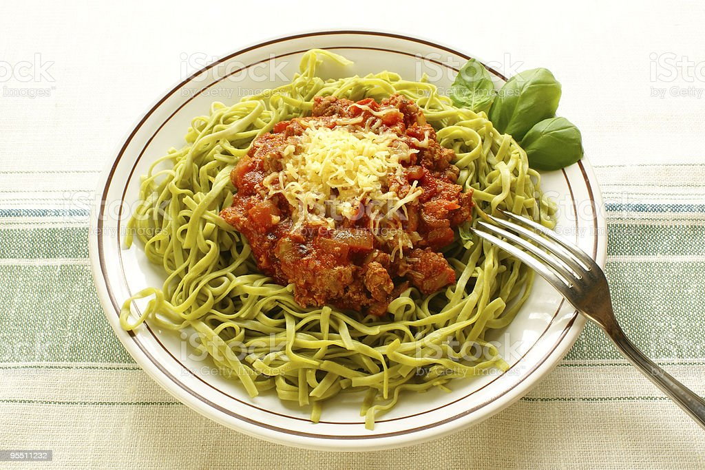 Spinach  tagliolini   with bolognese sauce royalty-free stock photo