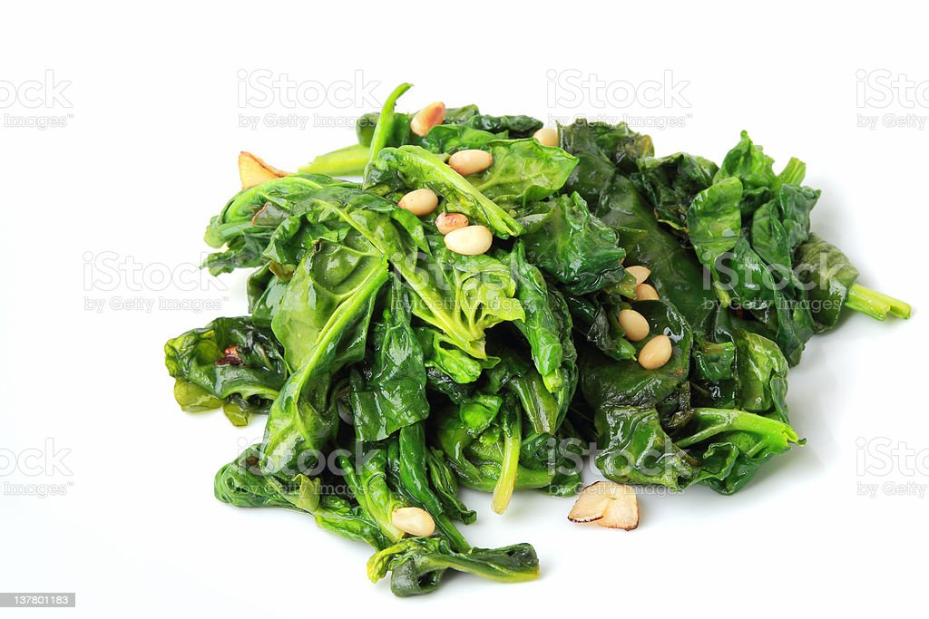 spinach with garlic royalty-free stock photo