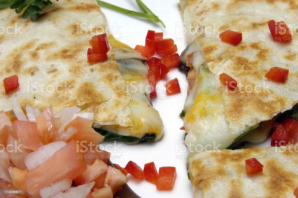 Spinachs filled Quesadilla royalty-free stock photo