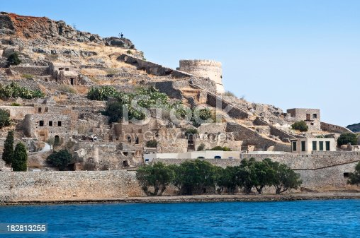 Remains of fortress on the Cretean island of Spinalonga - an previous Venetian fort and leper colony
