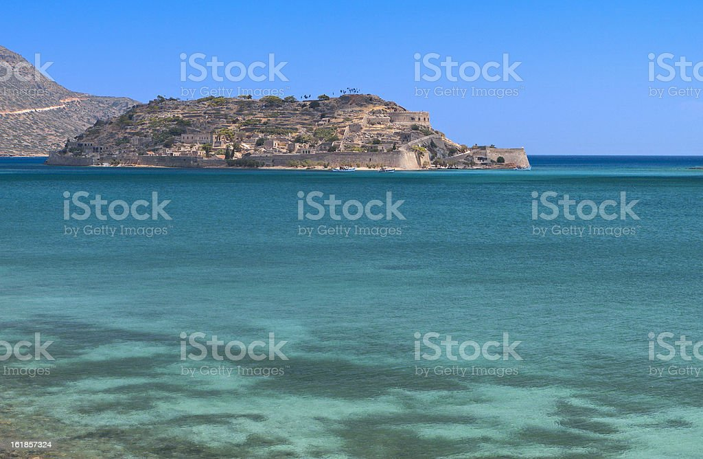 Spinalonga isle at Crete island in Greece stock photo