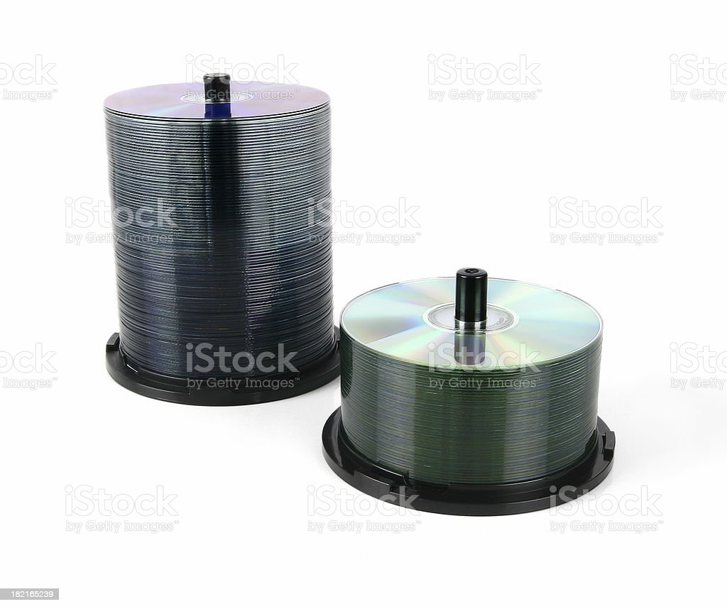 CD & DVD spindels stock photo