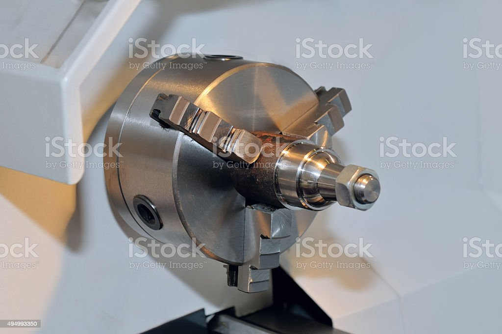 Spindle and a clamping mechanism for turning lathe. stock photo
