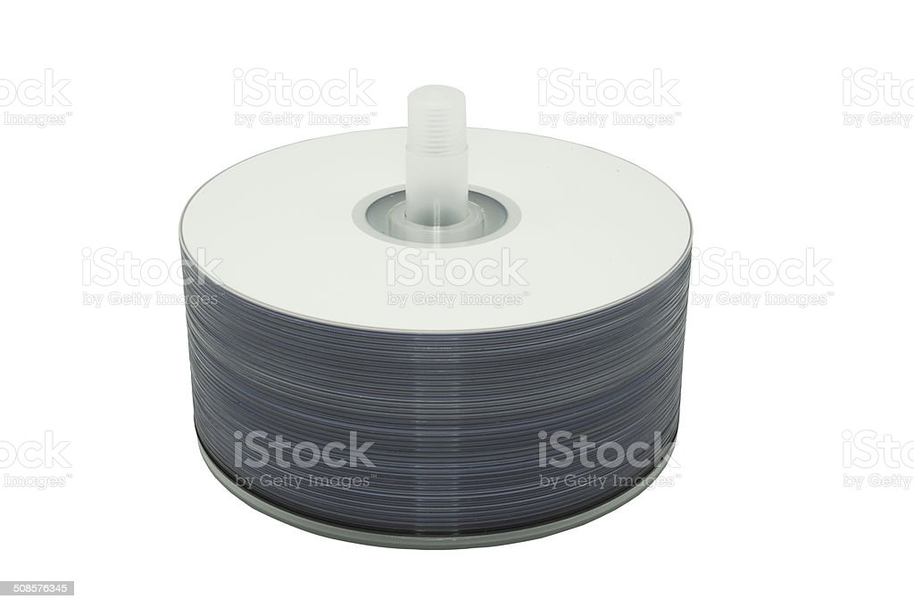 Spindle of Blank Discs stock photo