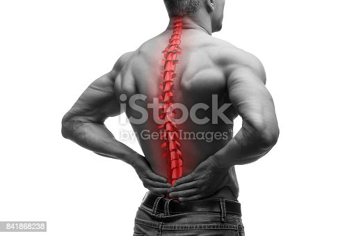 istock Spine pain, man with backache and ache in the neck, black and white photo with red backbone 841868238