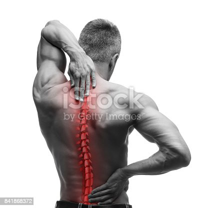 istock Spine pain, man with backache and ache in the neck, black and white photo with red backbone 841868372