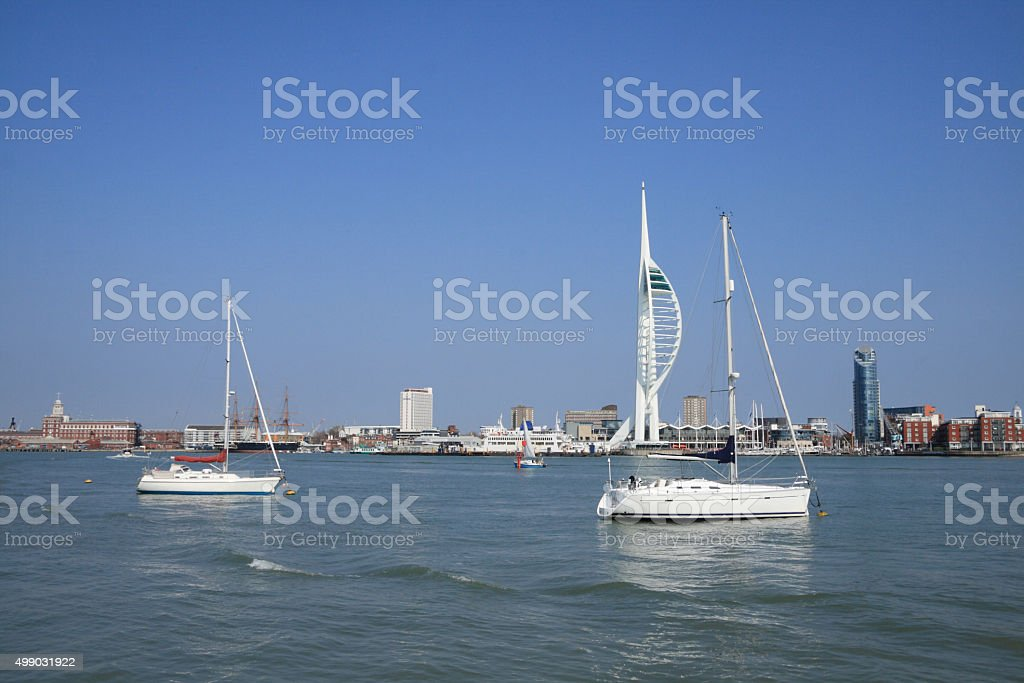 Spinnaker Tower across the harbour stock photo