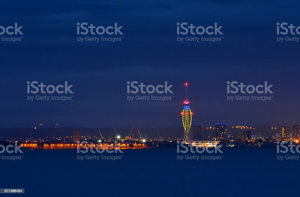 Spinnaker Tower and Portsmouth City at Night stock photo