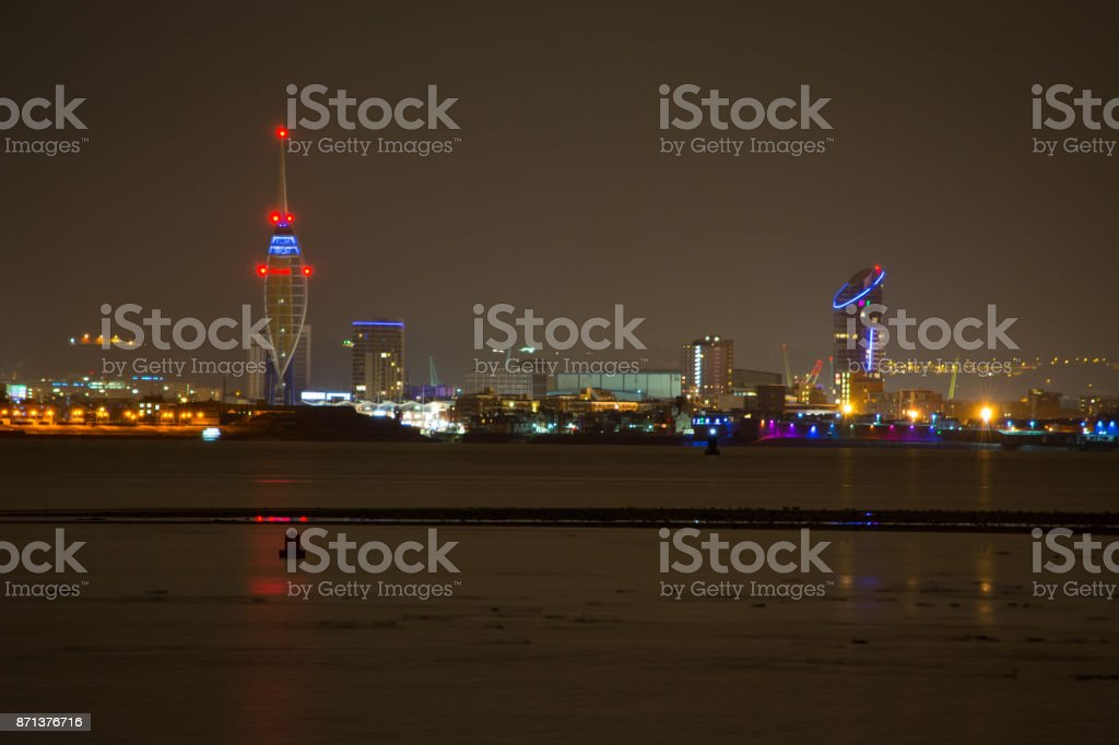 Pinnaker Tower and Portsmouth City Skyline at Night stock photo