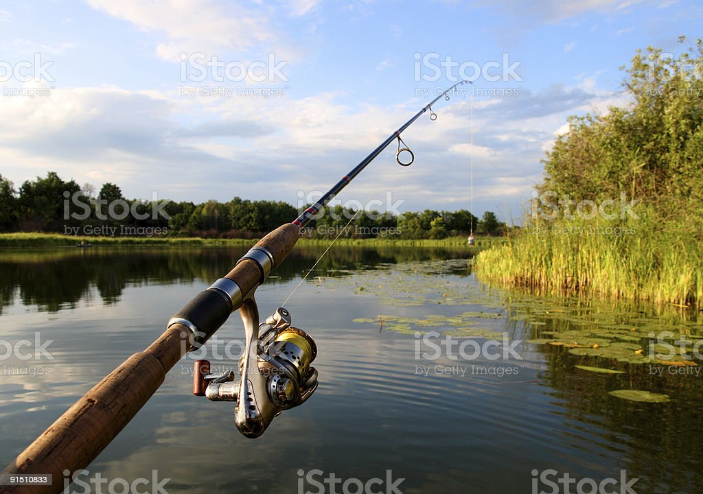 spinning and lake royalty-free stock photo