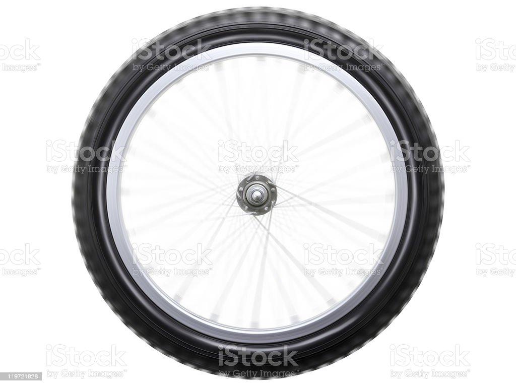 Spinning bicycle wheel royalty-free stock photo