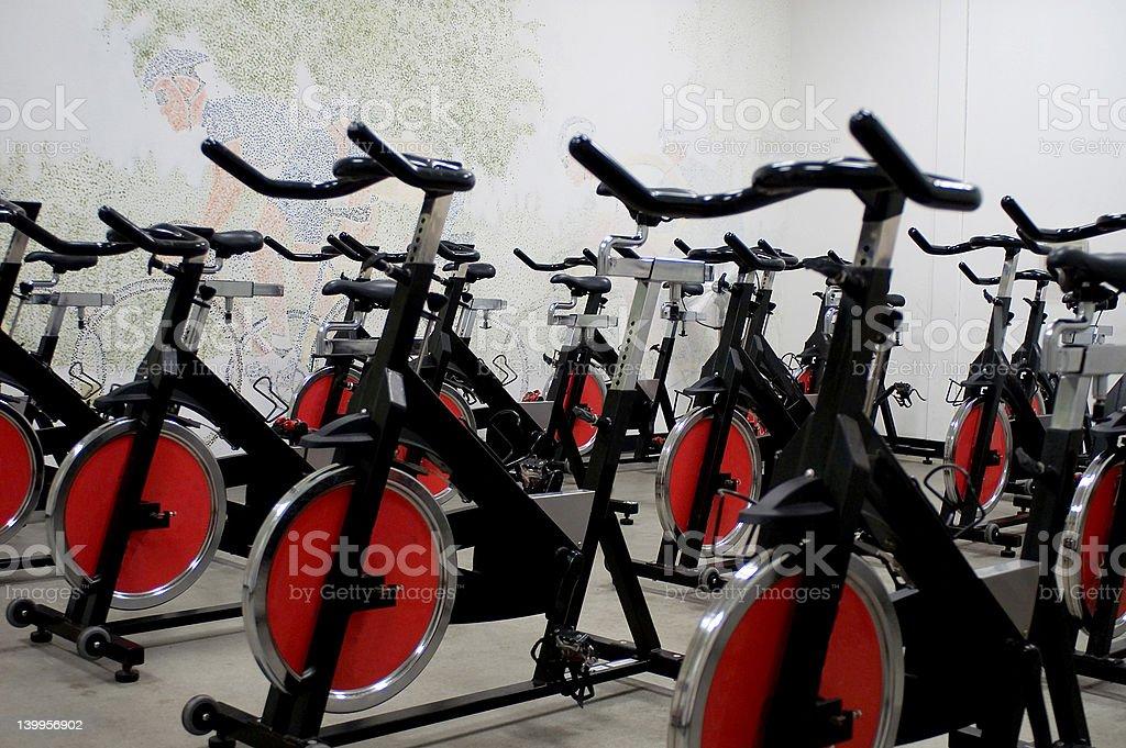 Spinning bikes stock photo