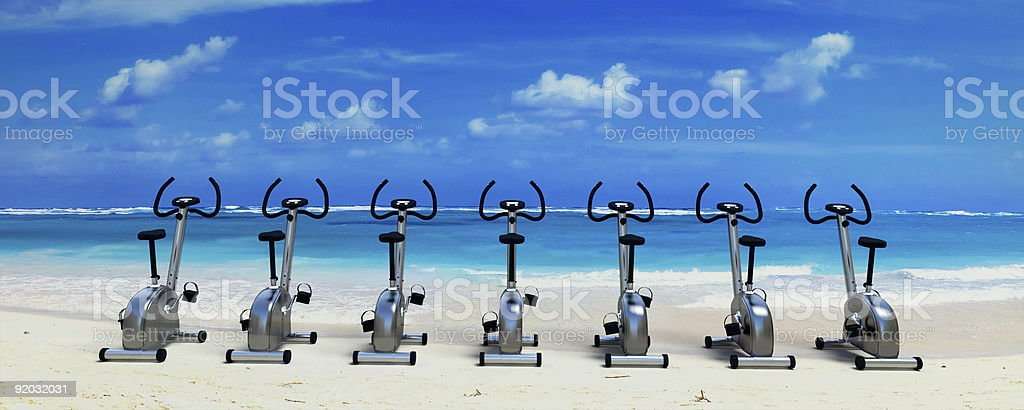 Spinning class in paradise stock photo