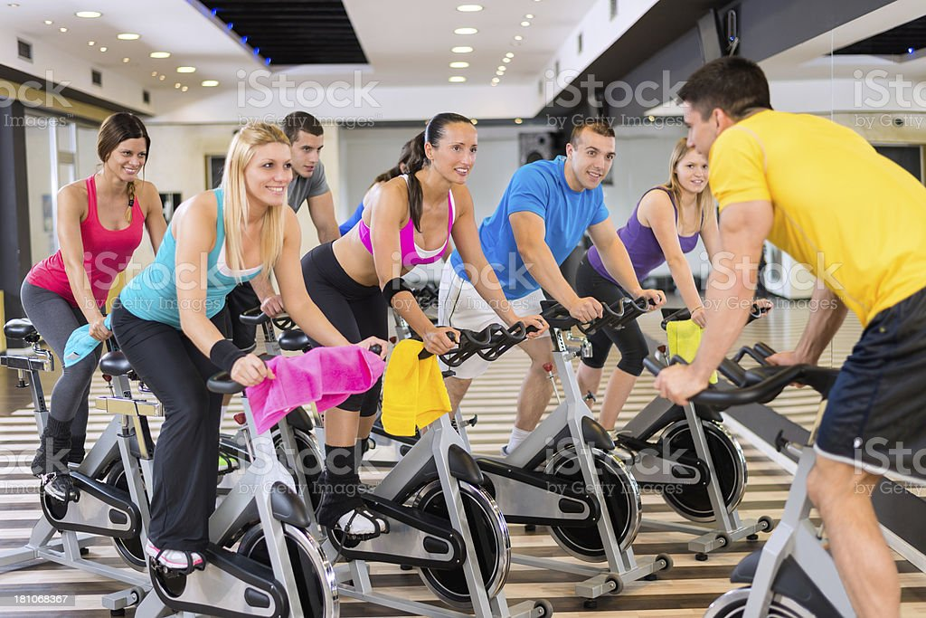 Spinning cycling course royalty-free stock photo