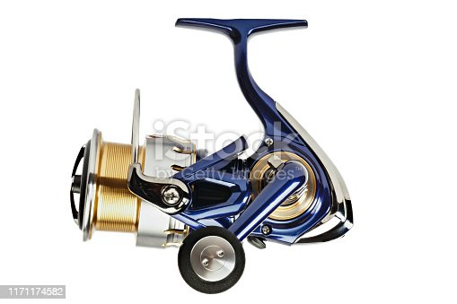istock spinning fishing reel isolated on a white background. 1171174582