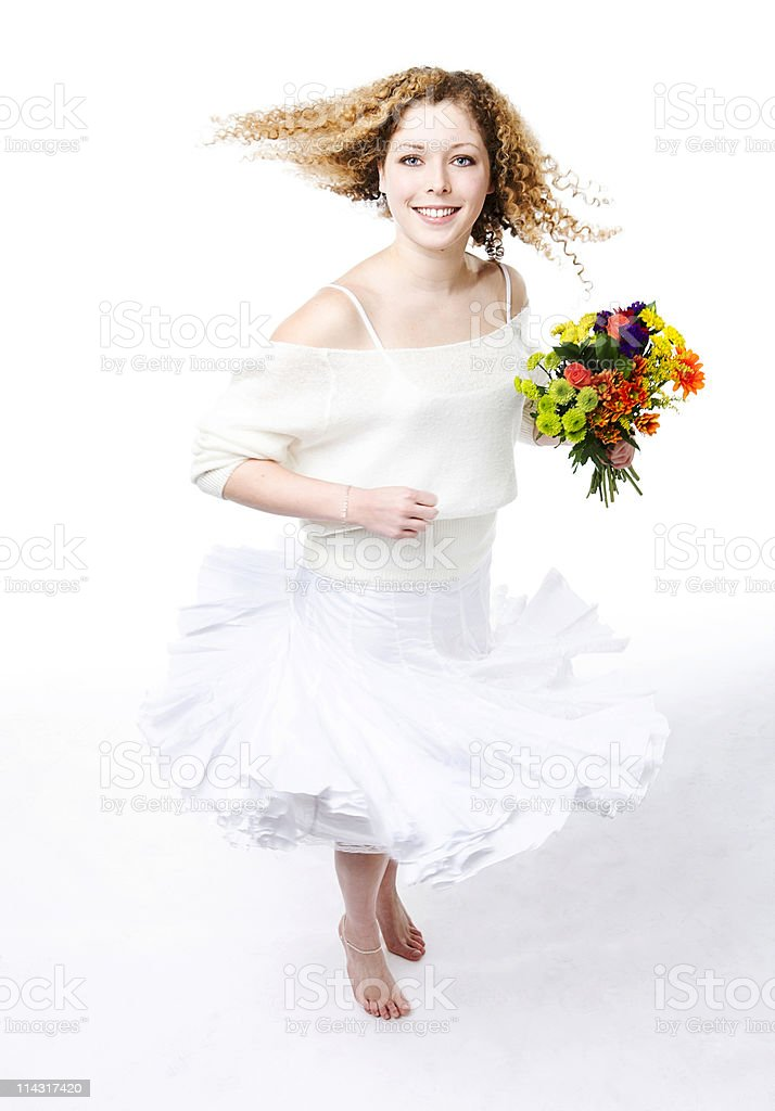 Spinning girl stock photo