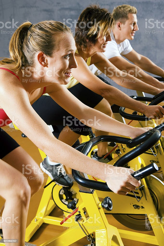 Spinning in the gym royalty-free stock photo