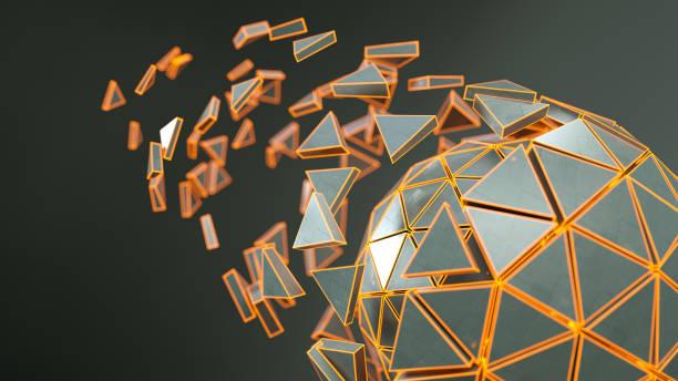 spinnen veelvlak met gloeiende oranje randen 3d render - veelvlakkig stockfoto's en -beelden