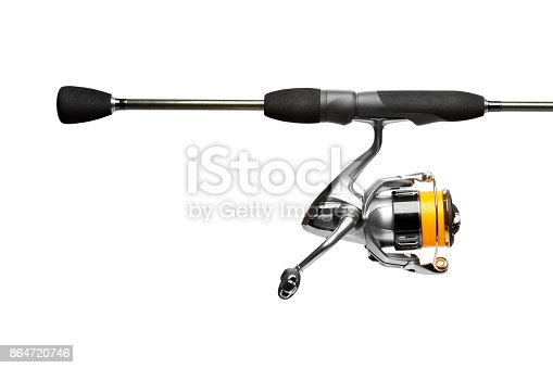 istock Spinning rod close up isolated on white background 864720746