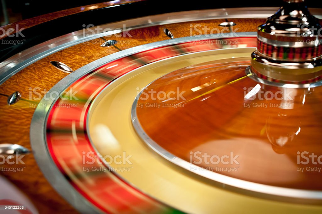 Spinning roulette wheel stock photo