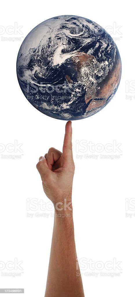 Spinning the World on a fingertip stock photo