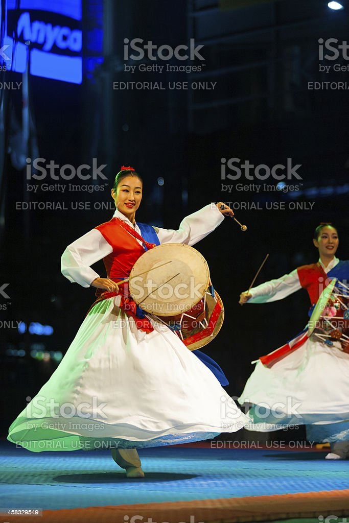 Spinning Traditional Hanbok Janggu Drum Show stock photo