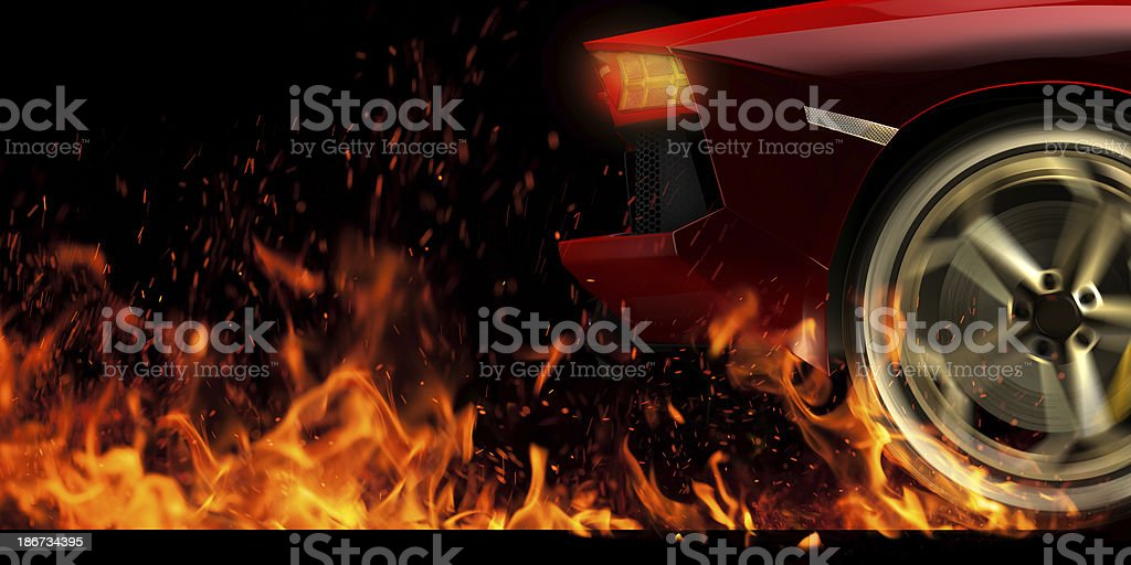Spinning wheel in fire stock photo