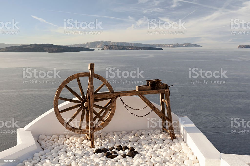 Spinning wheel in Oia stock photo