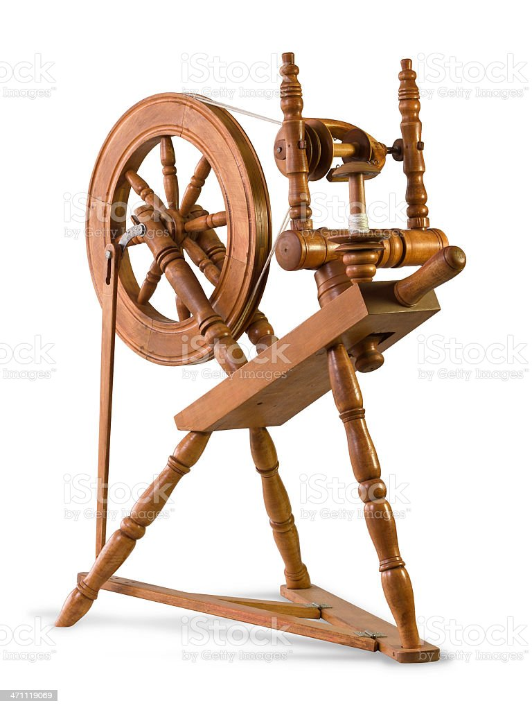 spinning wheel isolated stock photo