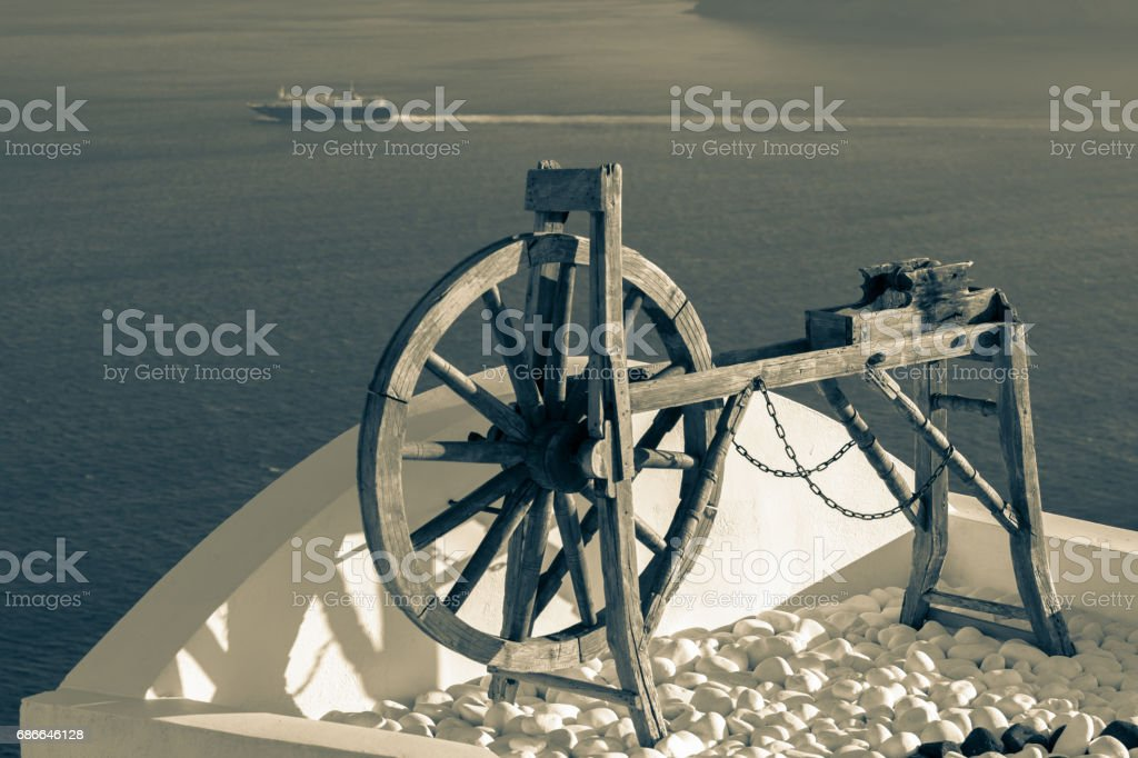 Spinning wheel, Santorini, Greece royalty-free stock photo