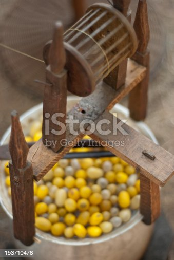 spinning wheel with thai silkworm cocoon