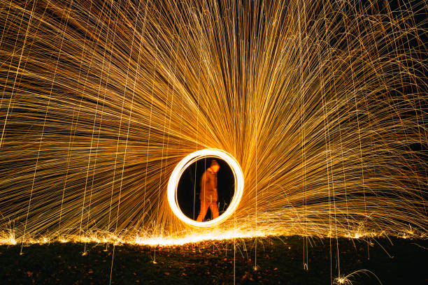 Spinning Wire Wool Mature male spinning lit wire wool to create a fan effect. pyrotechnic effects stock pictures, royalty-free photos & images