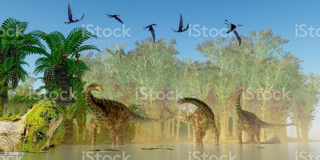 Spinophorosaurus Dinosaurs Swamp stock photo