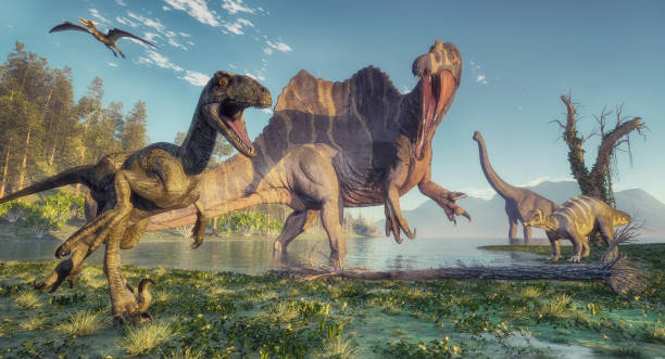 Spinosaurus and deinonychus in the jungle. This is a 3d render illustration. stock photo