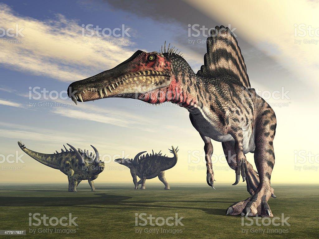 Spinosaurus and Gigantspinosaurus royalty-free stock photo