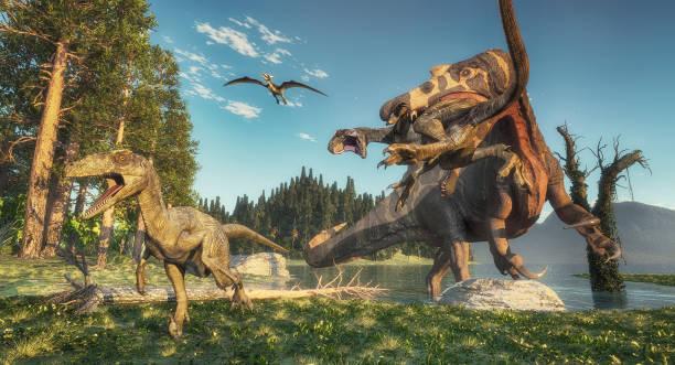 Spinosaurus attacks deinonychus in the jungle this is a 3d render picture id1192609804?b=1&k=6&m=1192609804&s=612x612&w=0&h=v8ivrjuagijuees26n5akuertjjfvpodwcetkzdujh4=
