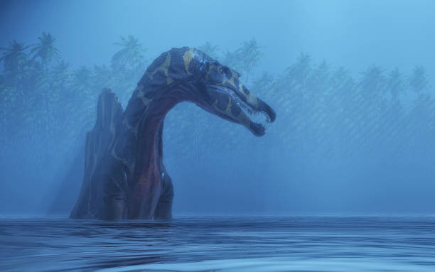 Spinosaurus in the lake . This is a 3d render illustration. stock photo