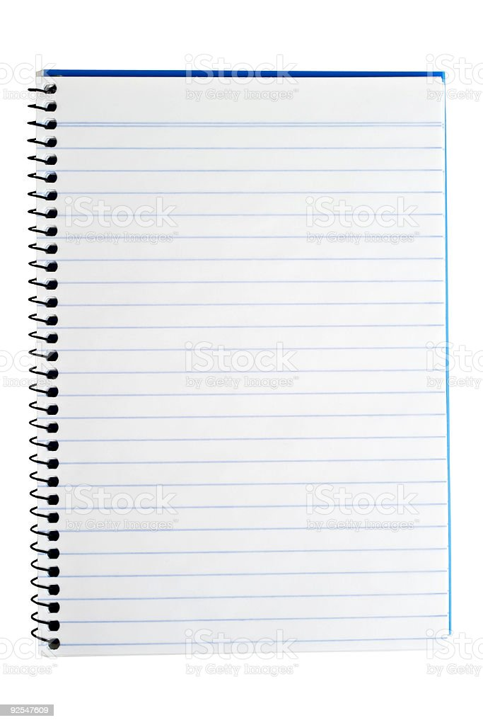 Spiral Back Notebook with Blank Page, Isolated on Wh royalty-free stock photo