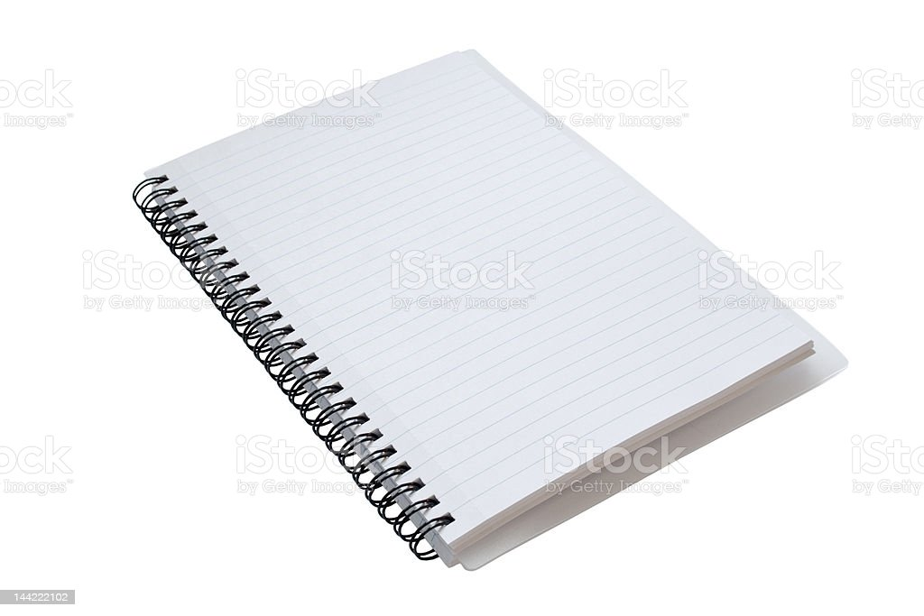 Spiral Bound Notebook, at an angle, with Clipping Path royalty-free stock photo
