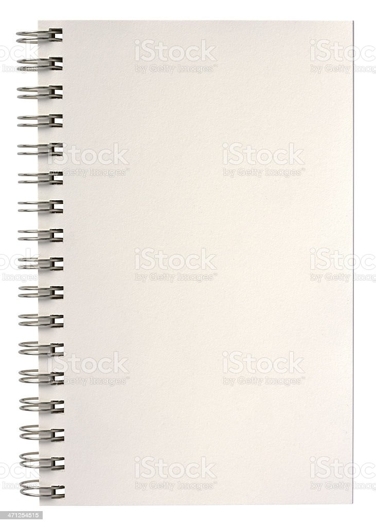Spiral bound  notepad open to blank page. Clipping Path. royalty-free stock photo