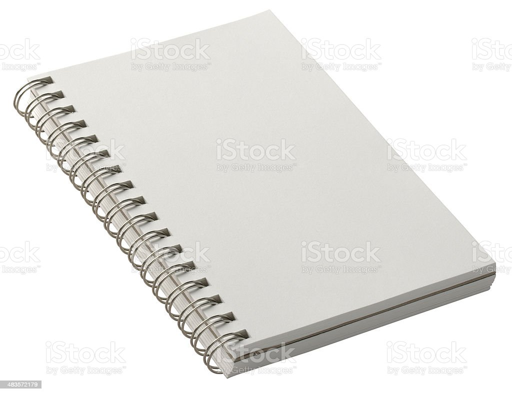 Spiral bound notepad open to blank page. Clipping Path stock photo