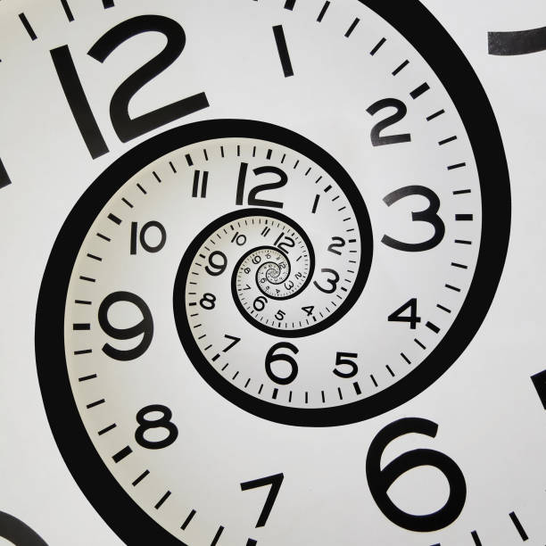Spiral clock A clock spiraling into itself eternity stock pictures, royalty-free photos & images