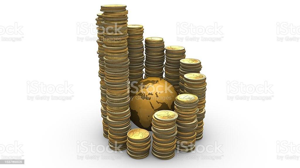 Spiral Coins Rising Around Globe stock photo
