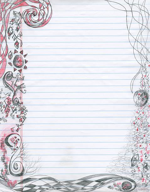spiral doodles notepaper (xxl) - linjerat papper bakgrund bildbanksfoton och bilder