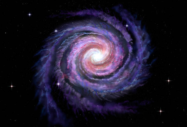 spiral galaxy, illustration of milky way - spiral stock pictures, royalty-free photos & images