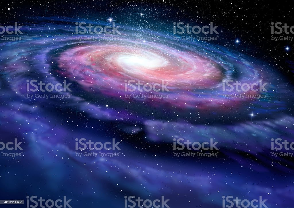 Spiral galaxy, illustration of Milky Way stock photo